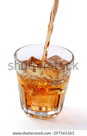 Pouring whisky in glass with ice cube on white background