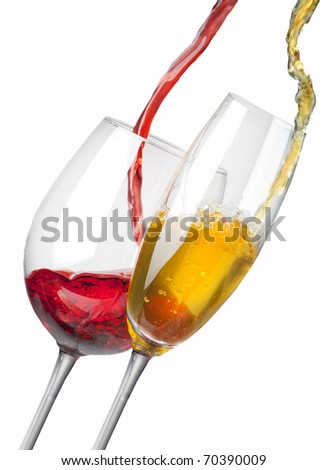 pouring white and red wine