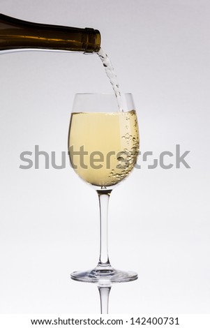 Pouring white wine in a glass
