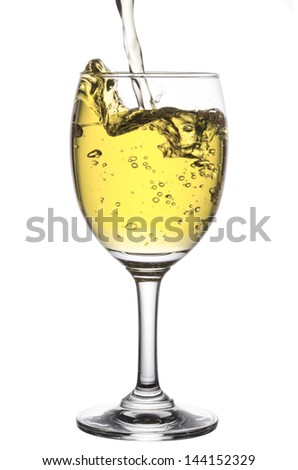 pouring white wine isolated on white