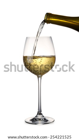 Pouring white Wine with clipping path - stock photo