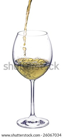 Pouring wine isolated on white background - stock photo