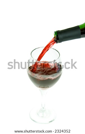 pouring wine on a white background