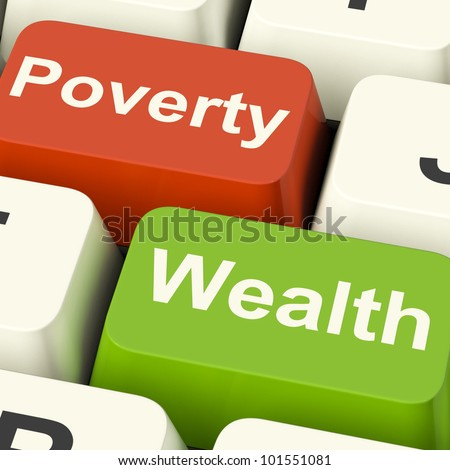 Poverty And Wealth Computer Keys Showing Rich Against Poor - stock photo