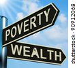 Poverty Or Wealth Directions On A Metal Signpost - stock photo