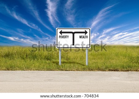 Poverty & Wealth sign - stock photo