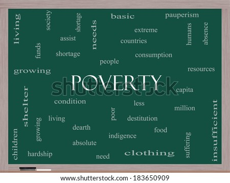 Poverty Word Cloud Concept on a Blackboard with great terms such as poor, condition, people and more. - stock photo
