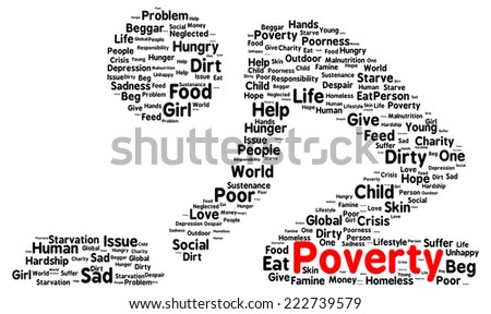 Poverty word cloud shape concept - stock photo