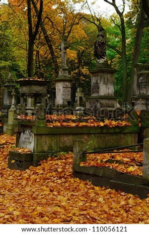 Powazki cemetery in Warsaw in the autumn - stock photo