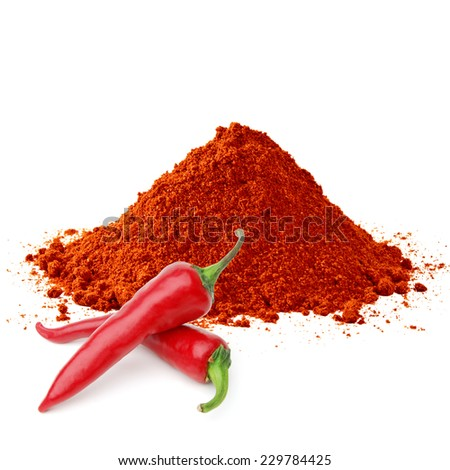 Powder and fresh pimienta roja red pepper on white background - stock photo