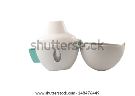 Powder asthma inhaler is equipment used powder in capsule to lung - stock photo