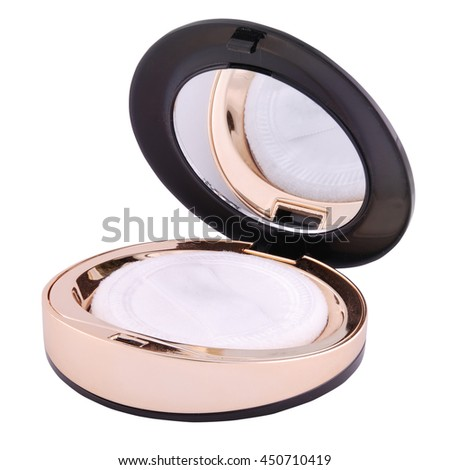 Powder box with a mirror on white. Clipping path inside.