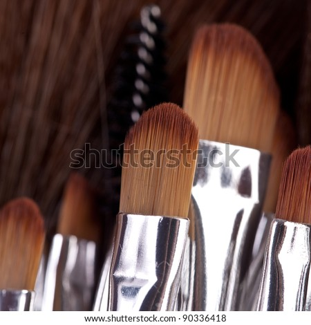 powder brushes  black background - stock photo