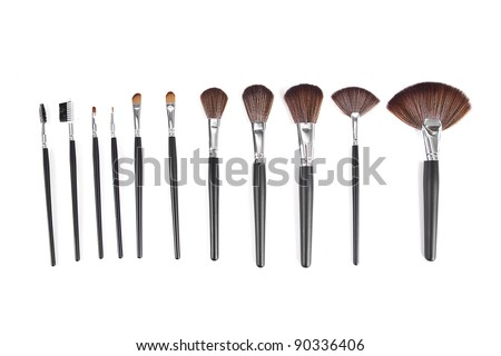powder brushes  white background - stock photo