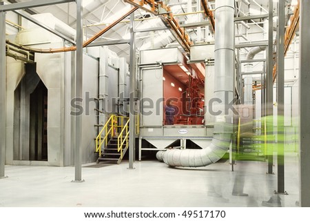 powder coat paint plant in a factory - stock photo