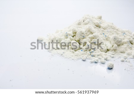Powder detergent isolated on white.