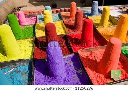 Powder pigments used for hindu festivals - Pushkar, Rajasthan, India