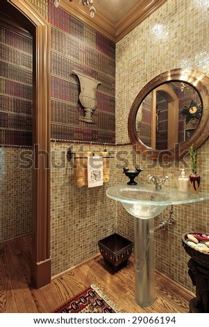 Powder room in luxury home - stock photo