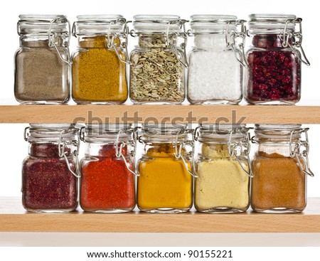 powder spices  in glass bottle isolated on white background - stock photo