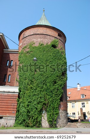 Powder tower in Riga overgrown with convolvulus, Latvia - stock photo