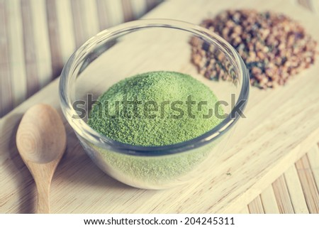 powdered green tea - stock photo