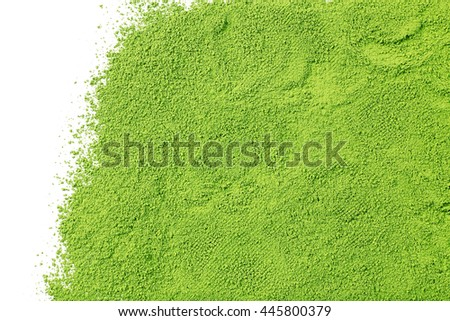 Powdered matcha green tea, isolated on white - stock photo