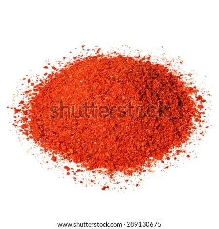 Powdered pimienta roja red pepper pile isolated on white.