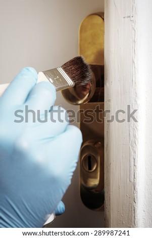 Powdering fingerprint - stock photo