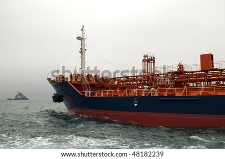 Power and gas industry-crude oil tanker - stock photo