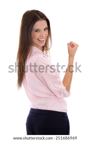 Power and Success: Isolated happy and young business woman over white background. - stock photo