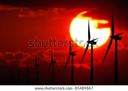 Power at Sunset - stock photo