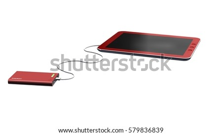 power bank loads tablet PC - isolated on white background - 3D illustration