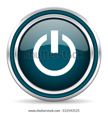 power blue glossy web icon with double chrome border on white background with shadow