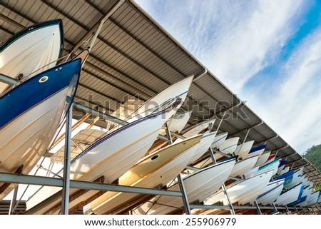 Power boats sheltered parking facility marina in Trinidad  - stock photo