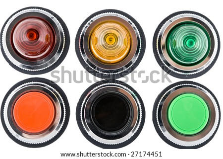 Power button and status indicator light on white background - stock photo