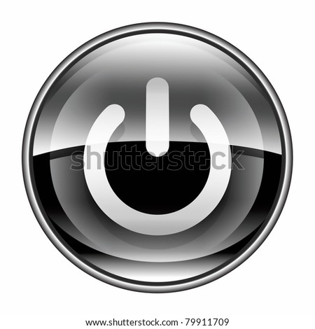 power button black, isolated on white background. - stock photo