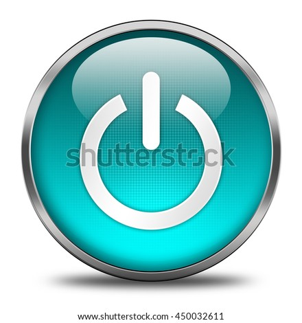 power button isolated on white background. 3d render