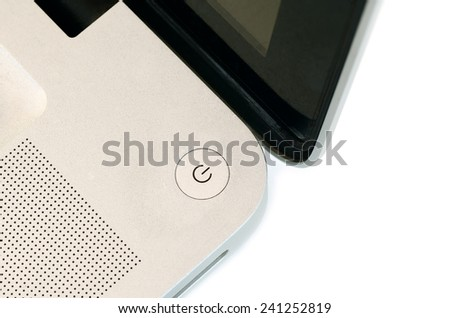 Power Button of Laptop Computer isolate on white background - stock photo
