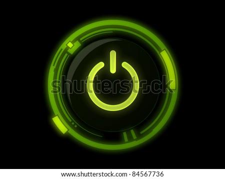 Power button on green light - stock photo