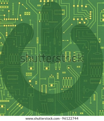 power button on the background of chips - stock photo