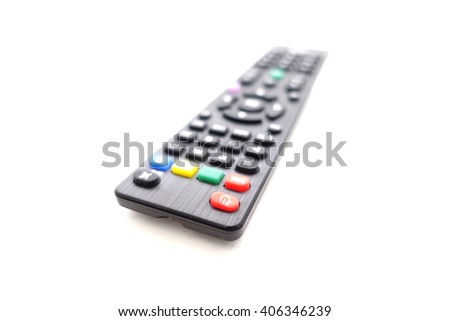 Power button on Tv remote control on white background:Close up,select focus with shallow depth of field - stock photo