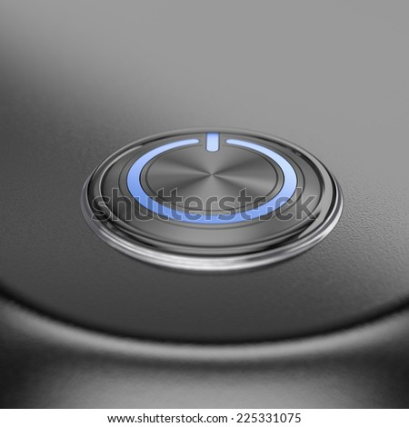 Power button with blur effect. Render image for business and motivation concepts. - stock photo