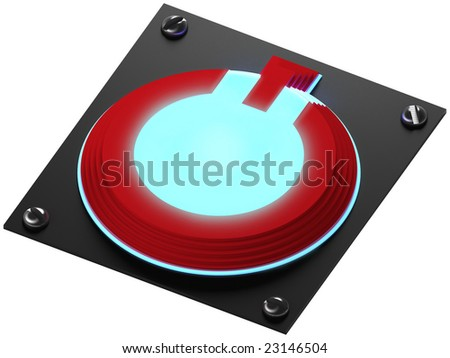 Power button with neon light - stock photo