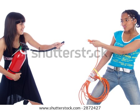power cable against fire extinguisher - stock photo
