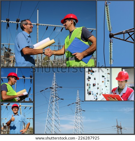 Power Company Electrical Engineers - Collage. Electricity distribution. Collage of photographs showing electric company engineers and workers at work. - stock photo