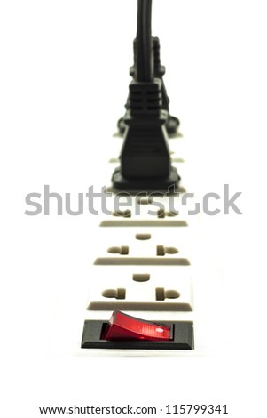 power connector on white background - stock photo