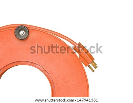 Power cord extender,3 prong plug wound on orange plastic spool.Close up of coiled electric cable for home or office to supply power.Isolated on white background.Horizontal,room for text,copyspace. - stock photo