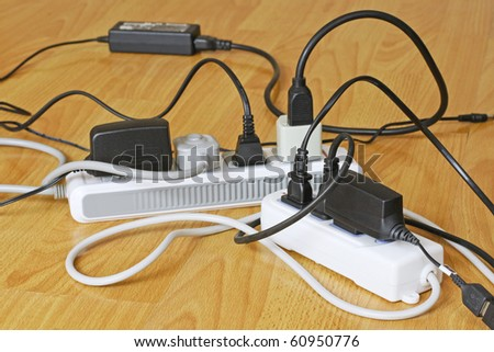 Power Cords in a tangled mess - stock photo