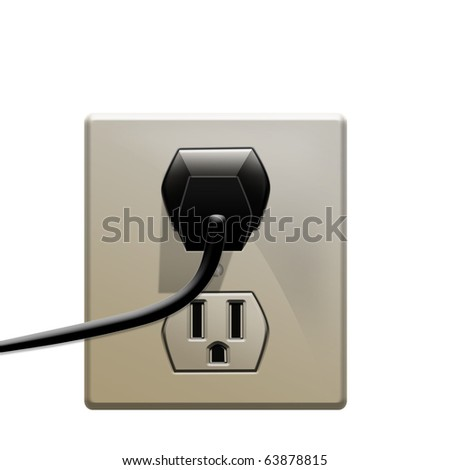 Power cords plug in electric outlet - stock photo