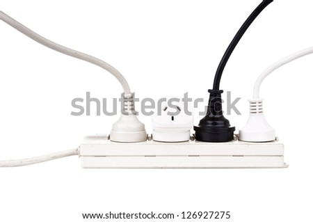 Power cords with powerboard isolated on white - stock photo
